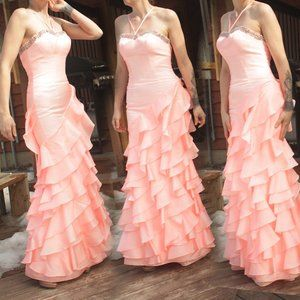 Strapless Peach Mermaid Gown
